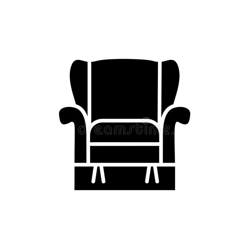Black & white vector illustration of comfortable recliner armchair with high back. Flat icon of arm chair seat. Upholstery. Furniture for living room & bedroom stock illustration