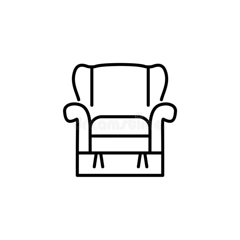 Black & white vector illustration of comfortable recliner armchair with high back. Line icon of arm chair seat. Upholstery. Furniture for living room & bedroom stock illustration