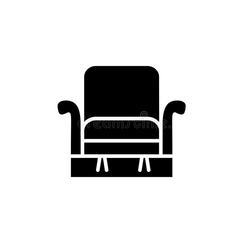 Black & white vector illustration of comfortable recliner with h. Igh back. Flat icon of arm chair seat. Upholstery furniture for living room & bedroom. Isolated royalty free illustration