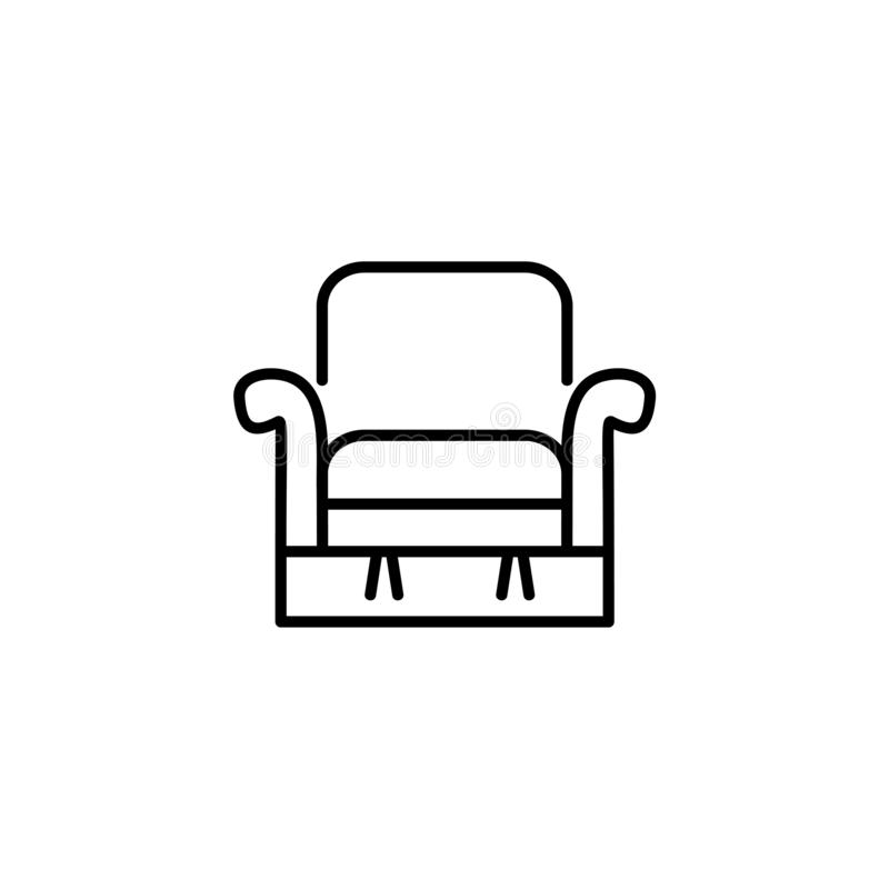 Black & white vector illustration of comfortable recliner with h. Igh back. Line icon of arm chair seat. Upholstery furniture for living room & bedroom. Isolated stock illustration