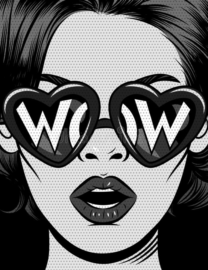 Black and white illustration in comic pop art style. The girl in glasses in the shape of a heart with an inscription wow. T vector illustration