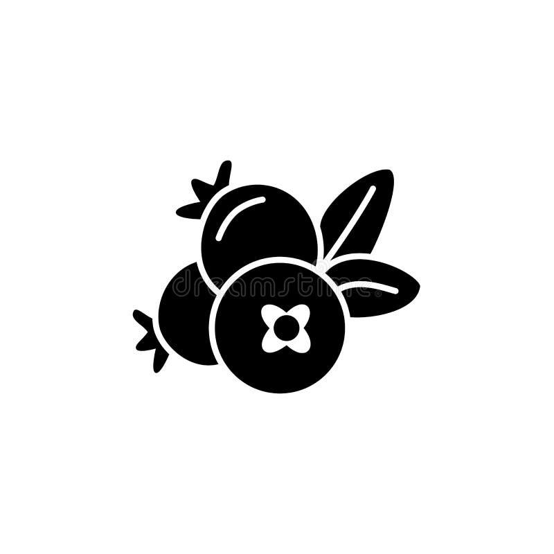 Black & white vector illustration of cranberry. Flat icon of fresh berries. Vegan & vegetarian food. Health eating fruit royalty free illustration