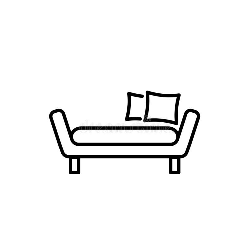 Black & white vector illustration of daybed with pillows. Comfortable sofa. Line icon of settee. Modern home & office furniture. Isolated object on white stock illustration