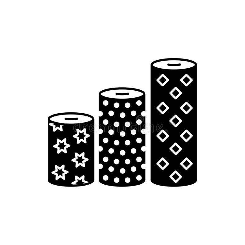 Black & white vector illustration of fabric assortments. Flat icon of textile rolls with different patterns for quilting &. Patchwork. Sewing material. Isolated vector illustration