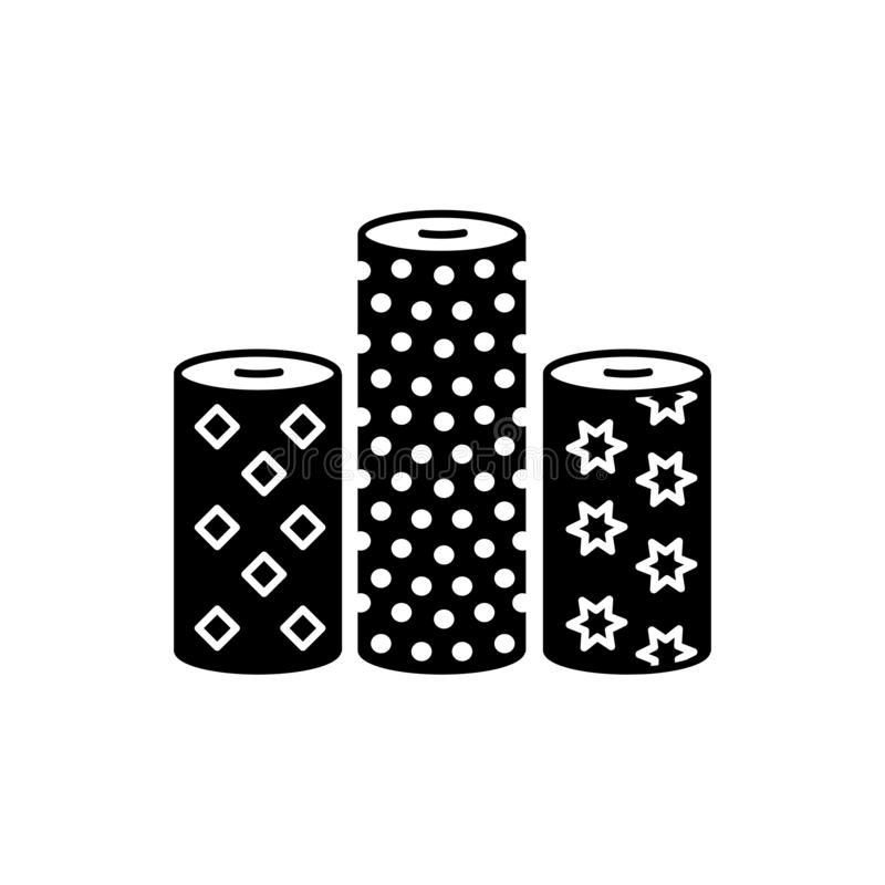 Black & white vector illustration of fabric assortments. Flat icon of textile rolls with different patterns for quilting &. Patchwork. Sewing material. Isolated royalty free illustration