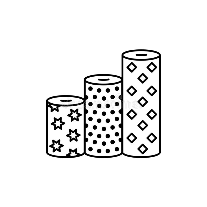 Black & white vector illustration of fabric assortments. Line icon of textile rolls with different patterns for quilting &. Patchwork. Sewing material. Isolated stock illustration