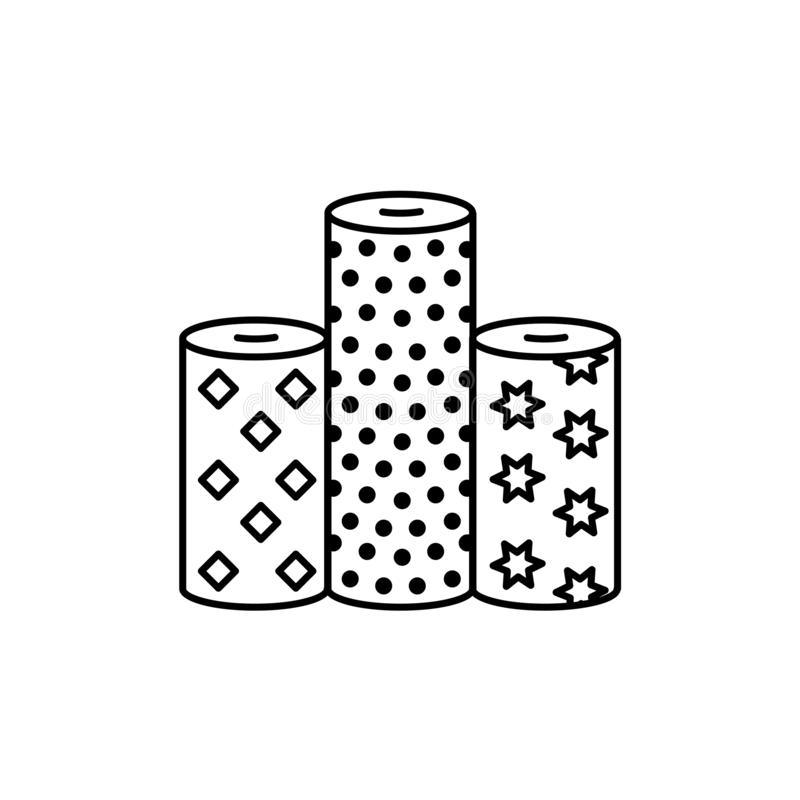 Black & white vector illustration of fabric assortments. Line icon of textile rolls with different patterns for quilting &. Patchwork. Sewing material. Isolated royalty free illustration