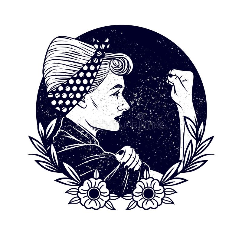 Black and white vector illustration about feminism and women`s rights. Tattoo with a girl in vintage style. girl with a bandage o. N his head shows a fist in royalty free illustration