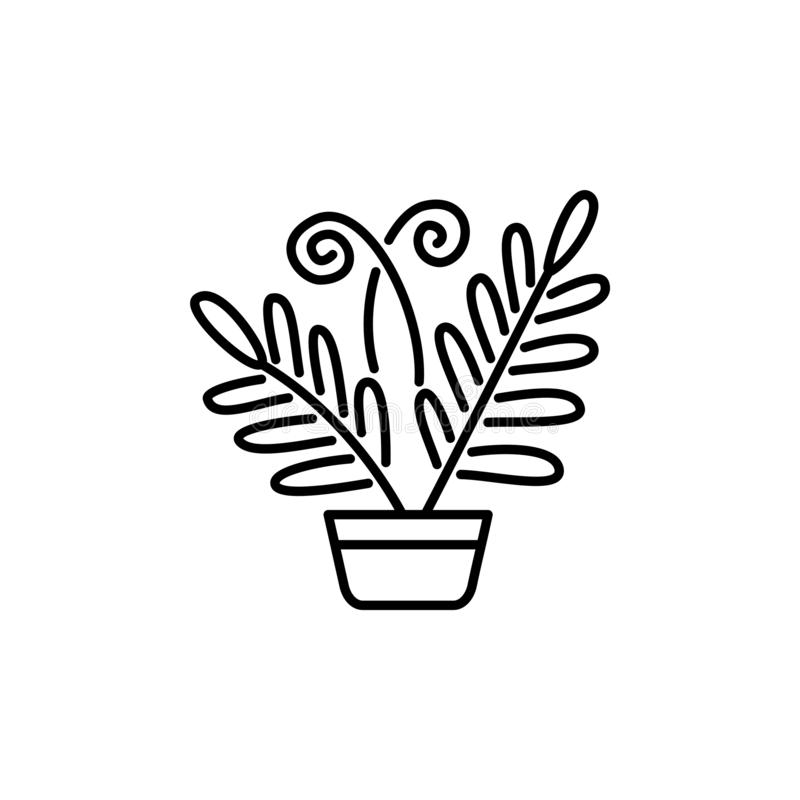 Black & white vector illustration of fern with leaves in pot. De. Corative home plant in container. Line icon of indoor plant for conservatory & terrarium royalty free illustration