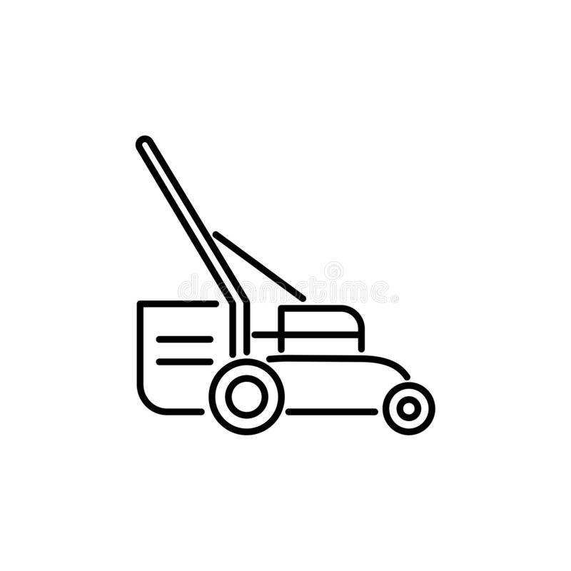 Black & white vector illustration of lawn mower. Line icon of gr royalty free illustration