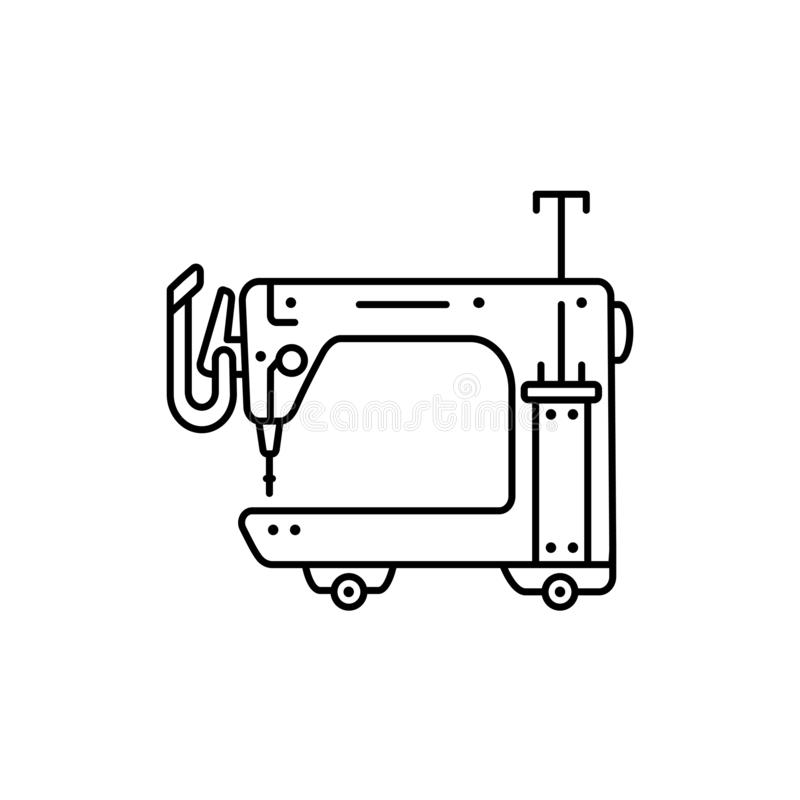 Black & white vector illustration of long arm quilting machine. Line icon of equipment for quilters. Sewing machine for patchwork. Isolated object on white stock illustration