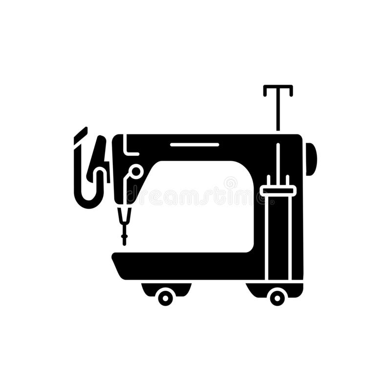 Black & white vector illustration of long arm quilting machine. Flat icon of equipment for quilters. Sewing machine for patchwork. Isolated object on white royalty free illustration