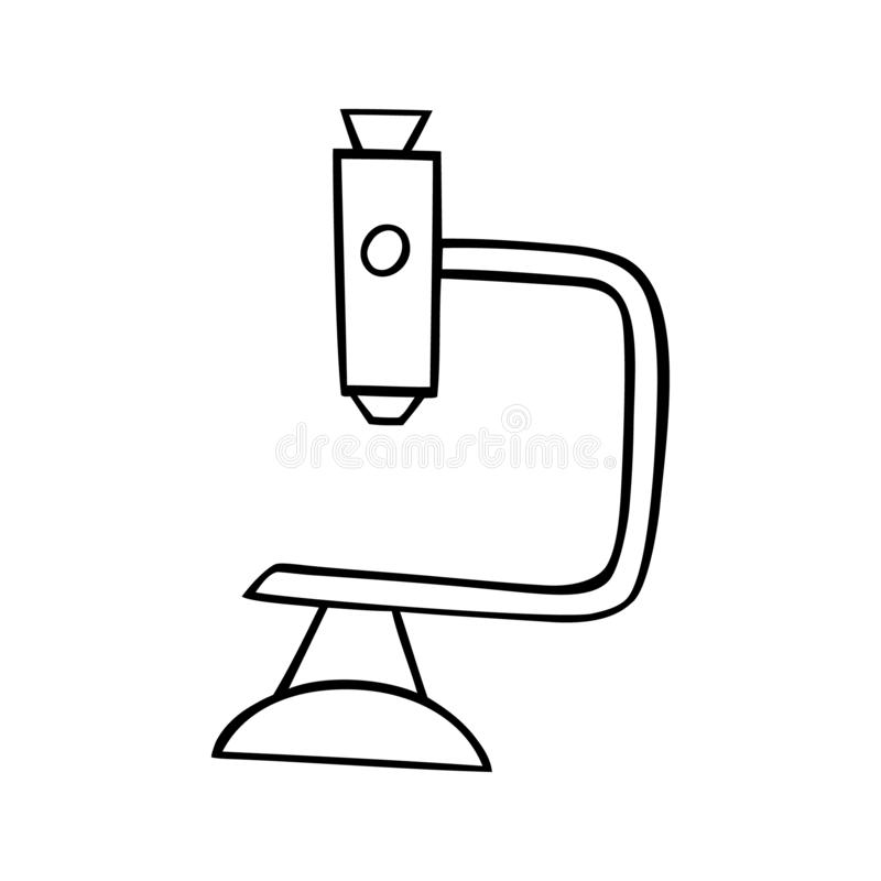 Black and white vector illustration of microscope royalty free illustration