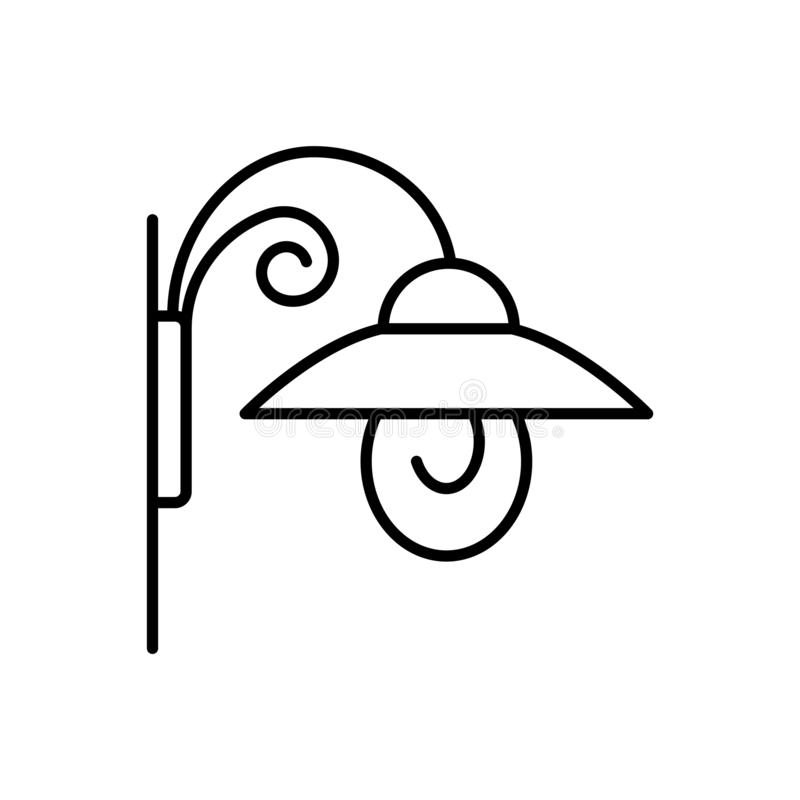 Free Black & White Vector Illustration Of Wall Sconce Lamp. Line Icon Of Outdoor & Indoor Light Fixture. Isolated Object Stock Photo - 138290110
