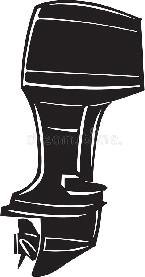 Black and White Outboard Motor Illustration. Black and white vector illustration of an outboard motor royalty free illustration