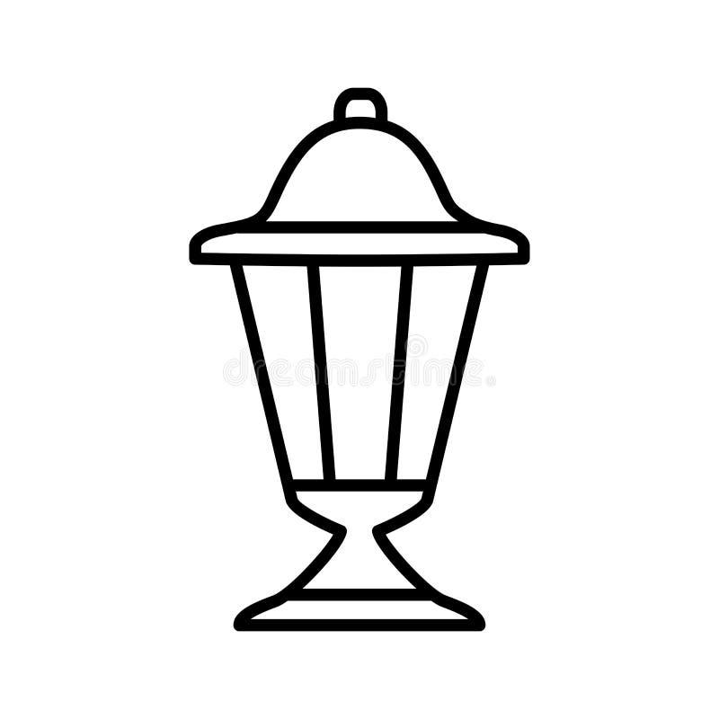 Black & white vector illustration of outdoor ground lantern. Line icon of retro light fixture. Isolated object. On white background stock illustration