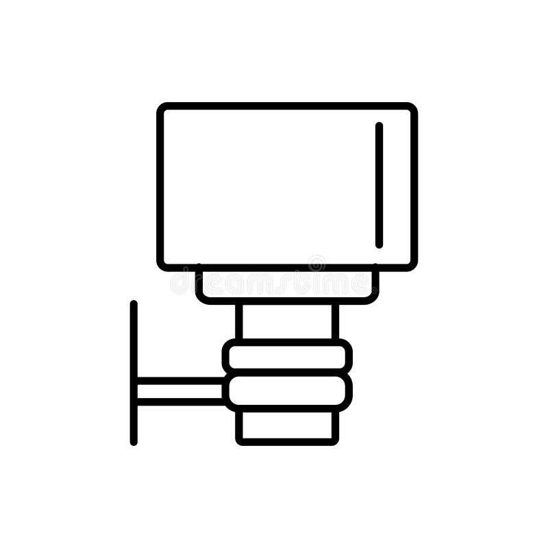 Black & white vector illustration of outdoor light dusk to dawn sensor. Line icon of energy saving wall lamp. Isolated object stock illustration