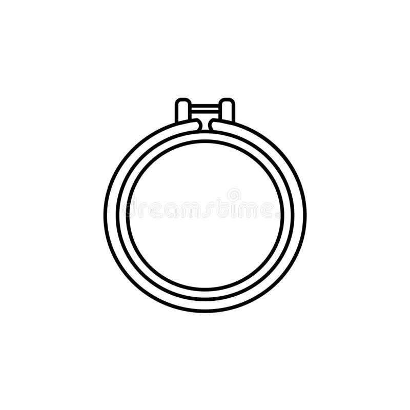 Black & white vector illustration of quilting round hoop. Line i. Con of patchwork frame. Supplies for sewing, embroidery & needlework. Isolated object on white stock illustration