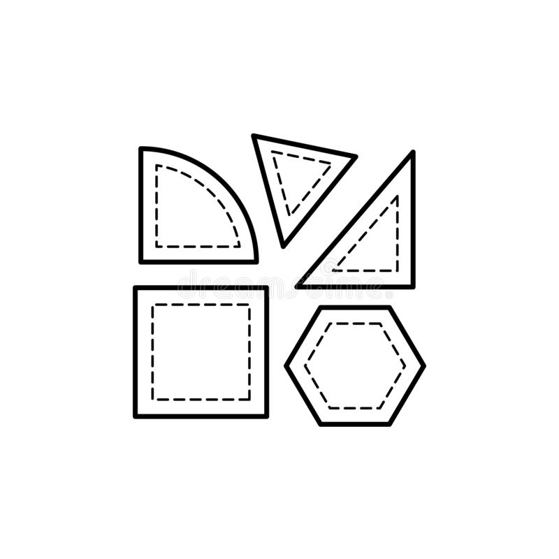 Black & white vector illustration of quilting templates for cutting fabric. Line icon of patchwork accessories. Triangle, square. & quarter round stencils royalty free illustration