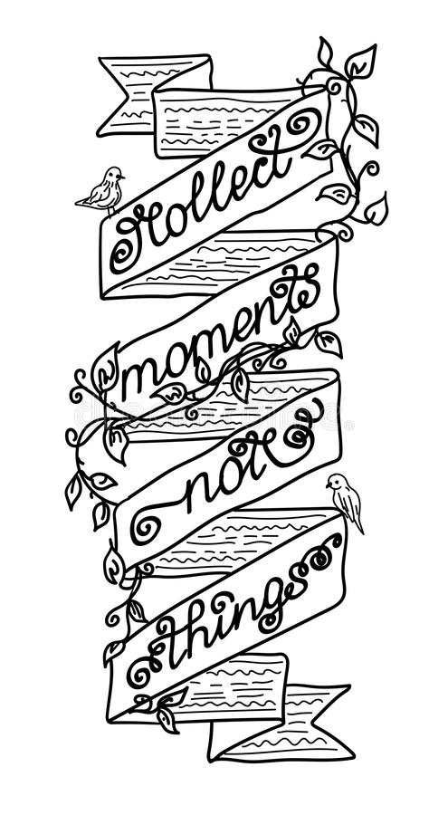 Black-white vector illustration, a quote decorated with tapes, flowers and birds royalty free illustration