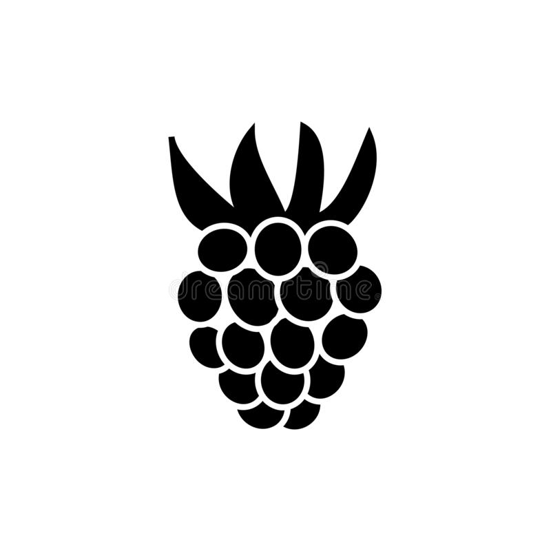 Black & white vector illustration of raspberry. Flat icon of fresh berry with leaves. Vegan & vegetarian food. Health eating. Fruit ingredient. Isolated object stock illustration