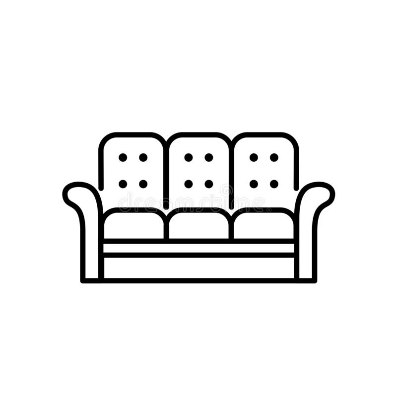 Black & white vector illustration of recliner. 3 seaters sofa. L. Ine icon of settee. Modern home & office furniture. Isolated object on white background royalty free illustration