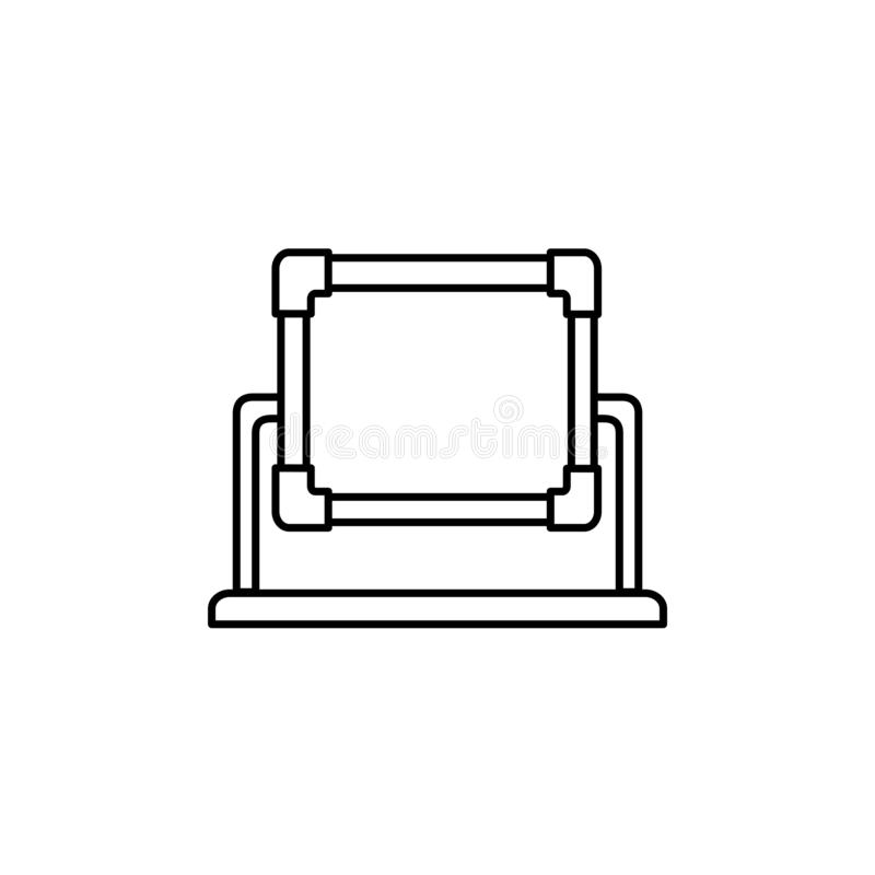 Black & white vector illustration of rectangular quilting frame. Line icon of patchwork frame. Supplies for embroidery & needlework. Isolated object on white royalty free illustration