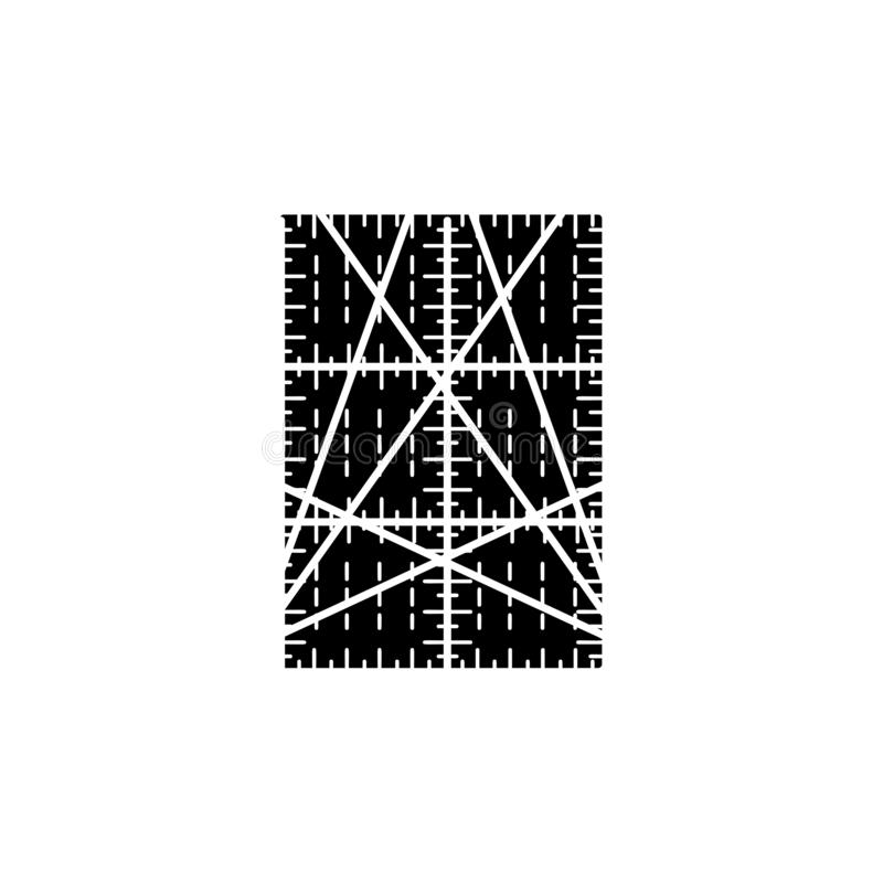 Black & white vector illustration of rectangular quilting ruler. Flat icon of patchwork & sewing tool to measure fabric blocks. Isolated object on white royalty free illustration