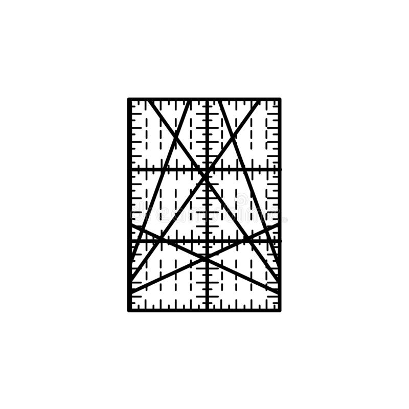 Black & white vector illustration of rectangular quilting ruler. Line icon of patchwork & sewing tool to measure fabric blocks. Isolated object on white stock illustration