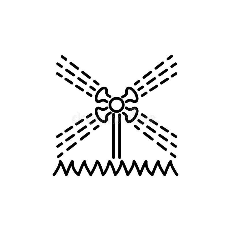 Black & white vector illustration of rotating garden water sprinkler. Line icon of lawn irrigation system on the grass. Gardening vector illustration