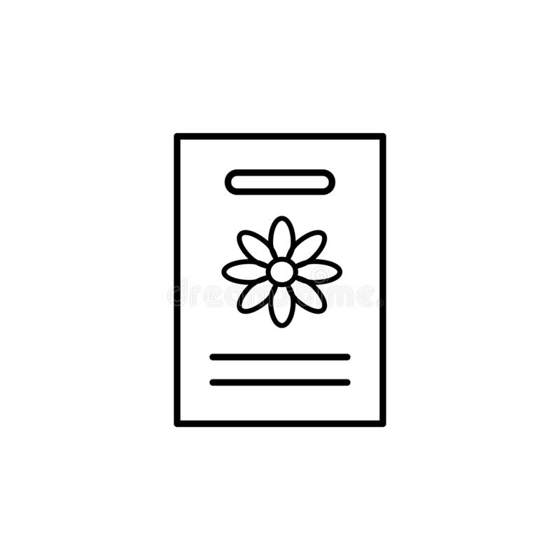 Black & white vector illustration of seed pack of flowering houseplant. Line icon of home plant seeds in paper packet with floral royalty free illustration