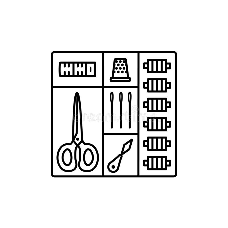 Black & white vector illustration of sewing kit in box. Line icon of quilting, patchwork & needlework tools in one set. Scissors, threads, needles. Isolated royalty free illustration