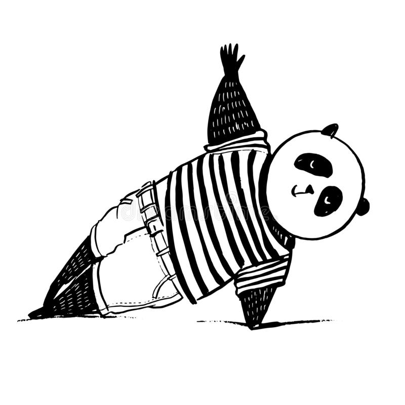 Black and white vector illustration. Sketch hand drawn standing panda. Panda in t-shirt and jeans stand in slide plank joga pose. Black and white vector royalty free illustration