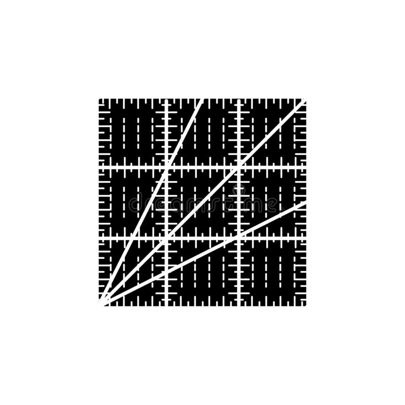 Black & white vector illustration of square quilting ruler. Flat. Icon of patchwork & sewing tool to measure fabric blocks. Isolated object on white background stock illustration