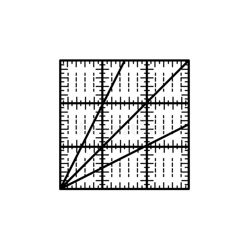 Black & white vector illustration of square quilting ruler. Line. Icon of patchwork & sewing tool to measure fabric blocks. Isolated object on white background stock illustration