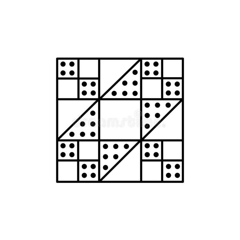 Black & white vector illustration of stepping stones quilt pattern. Line icon of quilting & patchwork geometric design template. royalty free illustration