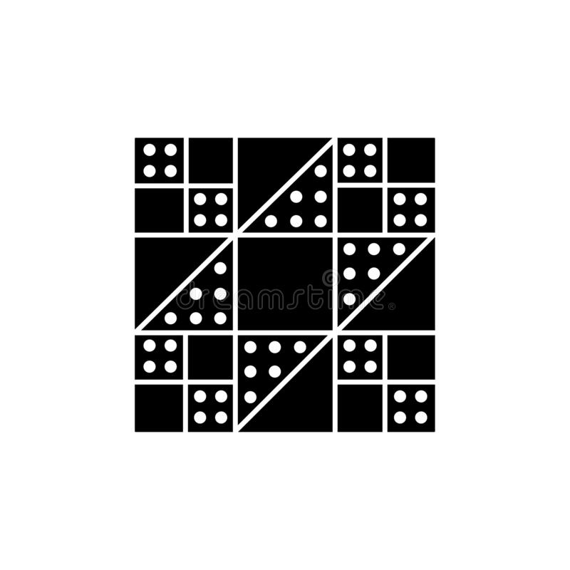 Black & white vector illustration of stepping stones quilt pattern. Flat icon of quilting & patchwork geometric design template. Isolated object on white vector illustration