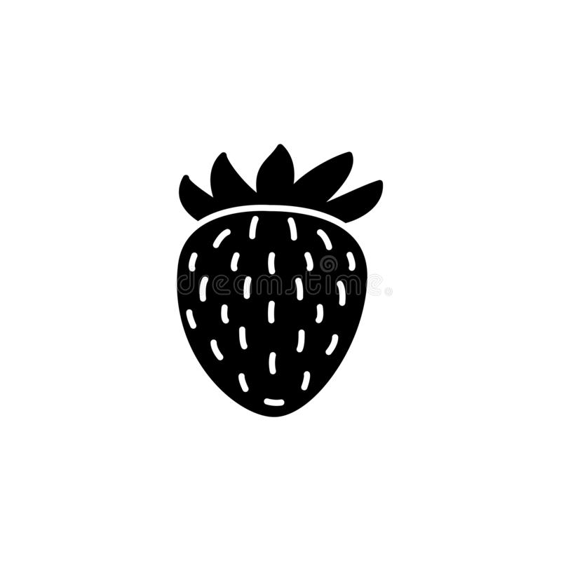 Black & white vector illustration of strawberry. Flat icon of fr. Esh berry with leaves. Vegan & vegetarian food. Health eating fruit ingredient. Isolated object vector illustration