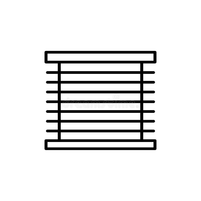 Black & white vector illustration of venetian curtain shutter. Line icon of window horizontal blind jalousie. Isolated object. On white background vector illustration