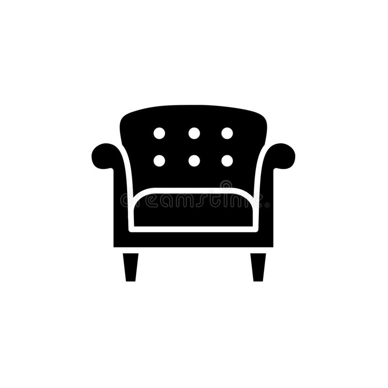 Black & white vector illustration of vintage style leather armchair. Flat icon of retro arm chair seat. Upholstery furniture. Iso. Lated object on white stock illustration