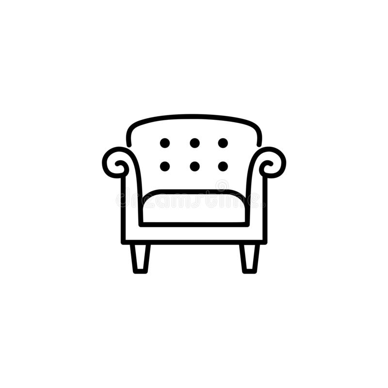 Black & white vector illustration of vintage style leather armchair. Line icon of retro arm chair seat. Upholstery furniture for. Living room & bedroom royalty free illustration