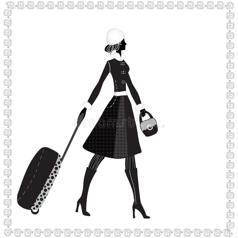 Elegant woman with luggage, Vector illustration, stock illustration