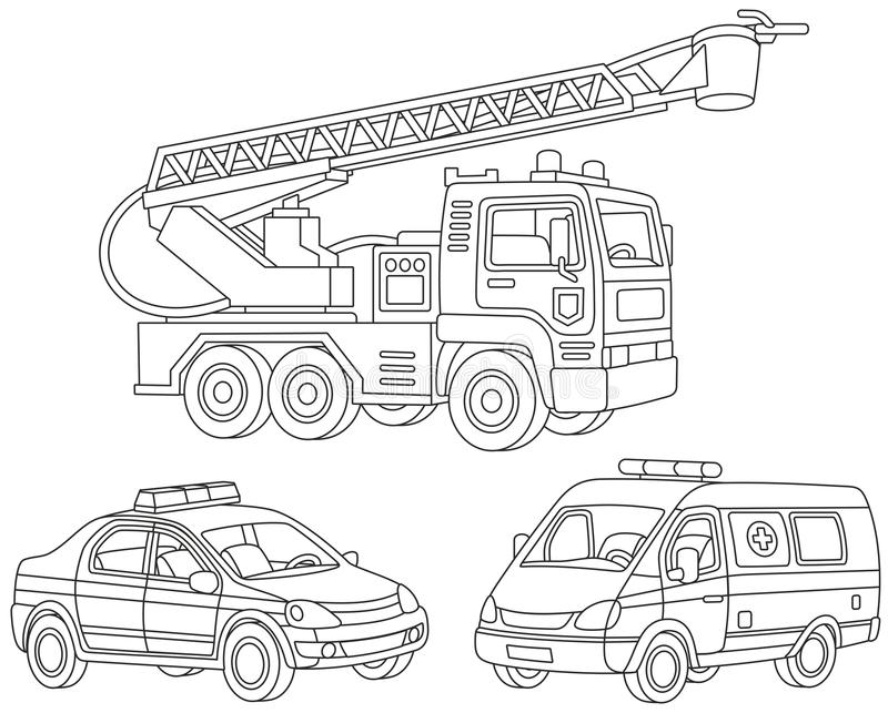 Set of special transport stock illustration
