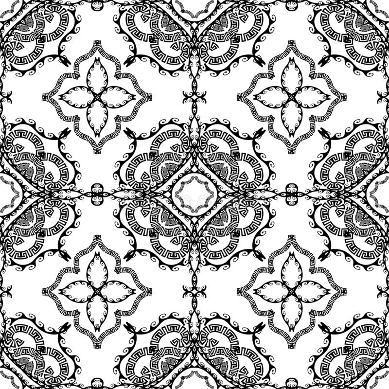 Black and white vector ornamental greek seamless pattern. Abstract monochrome patterned geometric background. Floral hand drawn v vector illustration