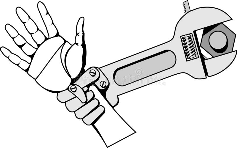 Black-and-white vector picture iron grip of revived wrench stock illustration