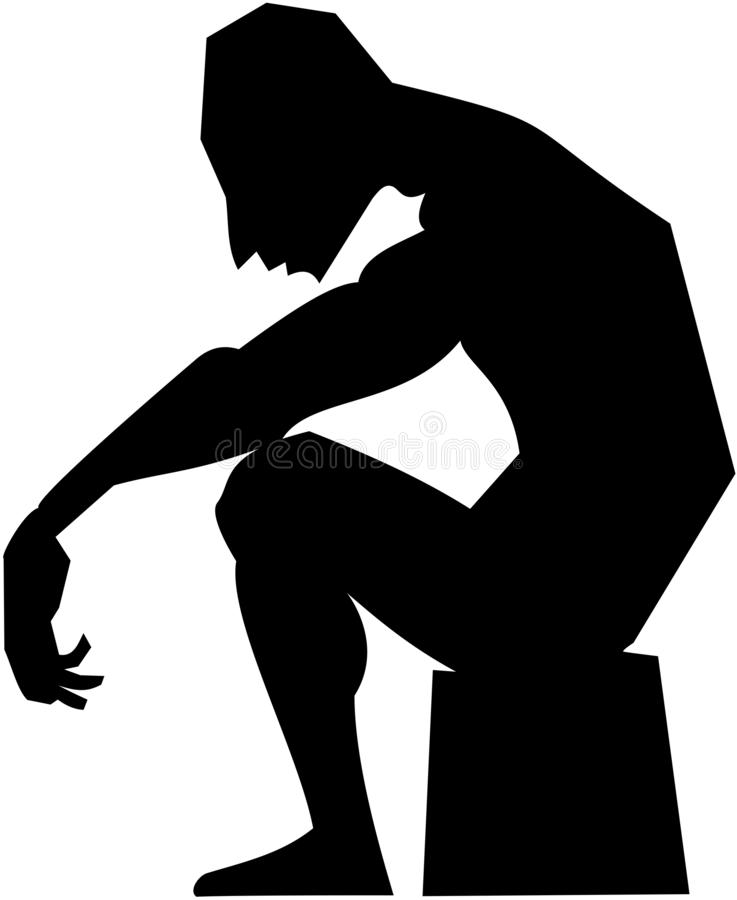 Black-and-white vector picture silhouette man sitting resting vector illustration