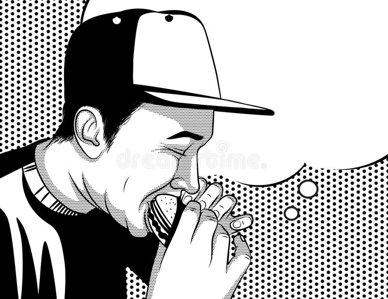 Black and white vector poster in comic art style of a guy eating junk food. stock illustration