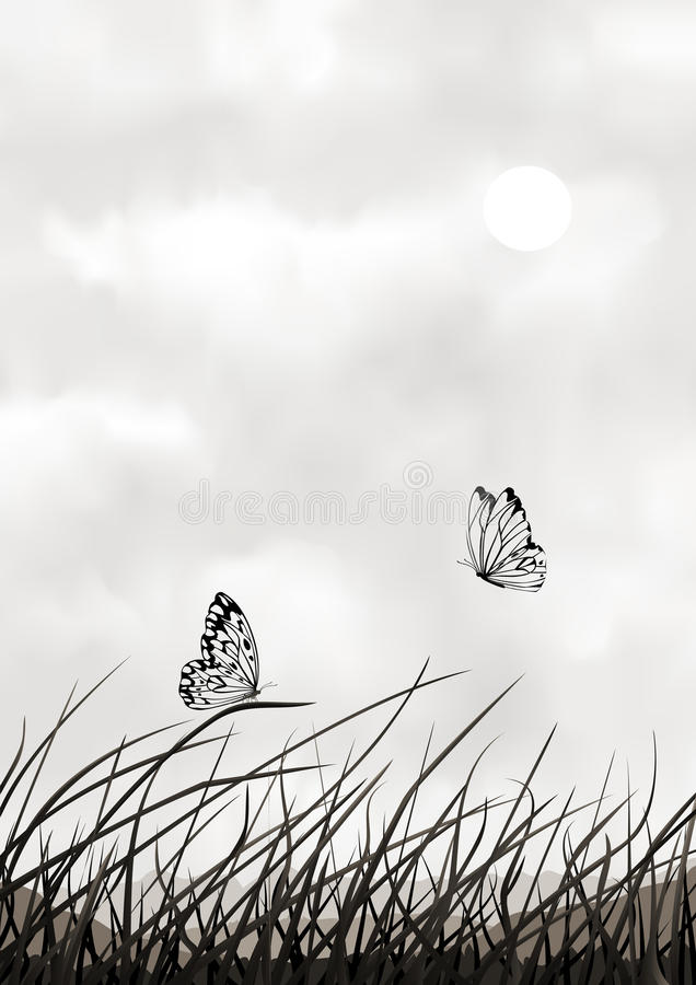 Download black and white vector scenery with butterflies stock vector illustration of natural flying