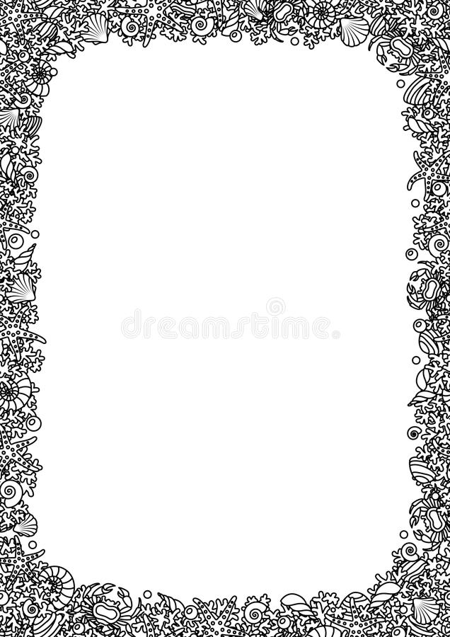 Black and white vector seamless vector format A4 from outline images of coral, sea shells and crabs stock illustration