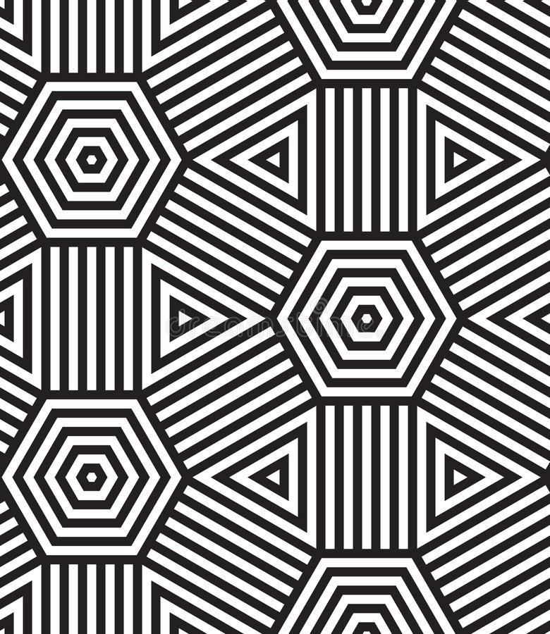 Black and White Vector Seamless Pattern Background. stock illustration